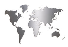 World map silhouette isolated on white Stock Photography