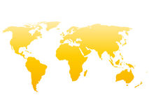 World map silhouette. Vector yellow gradient isolated on white background Stock Photography