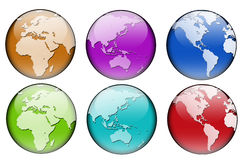 World map in six colors Royalty Free Stock Photography