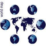 World map with six Earth globes vector illustration