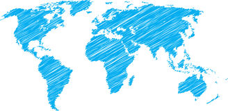World map sketch. Blue vector scribble sketch of world map Stock Photos