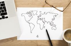 World map sketch Stock Photos