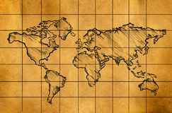 World Map Sketch on Old Paper. Digital Drawing Royalty Free Stock Images