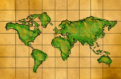 World Map Sketch watercolor on Old Paper. Digital Drawing Royalty Free Stock Photo