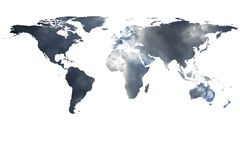 World map and smoke Stock Image