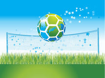 World map on soccer ball, natu Stock Images