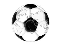 World map on the soccer ball Stock Image