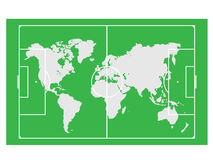 World map on the soccer field Royalty Free Stock Images