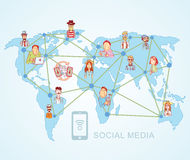World Map,Social Media Communication Internet Network Doodle, Vector Illustration. Stock Photography