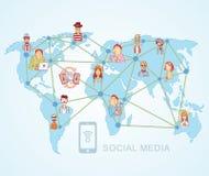 World Map,Social Media Communication Internet Network Doodle, Vector Illustration. World Map,Social Media Communication Internet Network Doodle, Vector Stock Photography