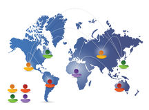 World map social media network illustration Royalty Free Stock Images