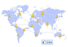 World map ,social network and like button Stock Photo