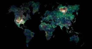 World map space exploration concept. World map over black with a galaxy filling the map of Earth, science and space exploration concept Stock Photos