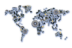 World map of the spare parts for shop auto. Spare parts map for shop auto aftermarket Stock Photos