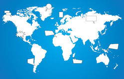 World map with speech bubbles Royalty Free Stock Photo