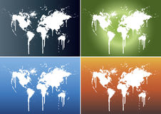 World map splatter backgrounds. Vector illustrations of world maps splattered on four different beautiful gradient backgrounds: light blue, fire, green (world) Royalty Free Stock Photography