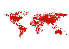 World map splatter red color. illustration  Royalty Free Stock Photos