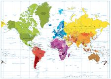 World Map spot colored illustration Stock Photos