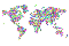 World map square pixels Royalty Free Stock Images