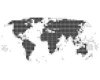 World map in squares. Dotted world map in squares Vector Illustration
