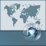 World Map on squares backdrop and earth globe inside sphere of glass Stock Photography