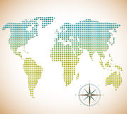 World Map of squares with compass Stock Image