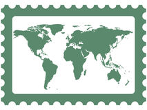 World map on stamp Stock Photos