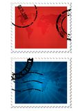 World map stamps Royalty Free Stock Images