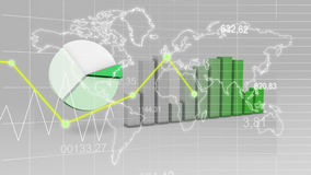 World Map Statistic Data Graph Green Finance 3D Background. Digital stock illustration