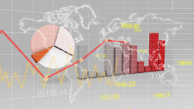 World Map Statistic Data Graph Red Finance 3D Background. Digital Stock Photo