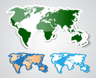 World map in sticker style Stock Image