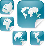 World map stickers Royalty Free Stock Images