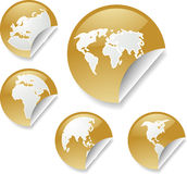 World map stickers. World map icons on round sticker shapes Stock Image
