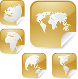 World map stickers. World map icons on square sticker shapes Royalty Free Stock Photo