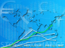 World map and stock exchange. A background pattern of a world map and stock exchange information stock illustration