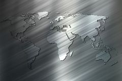 World map of the striped metal background. Royalty Free Stock Image