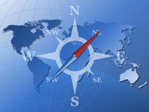 World map and stylized compass Royalty Free Stock Images