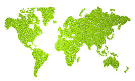 World Map, stylized map, green half circles Stock Photo