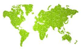 World Map, stylized map, green half circles Stock Photo