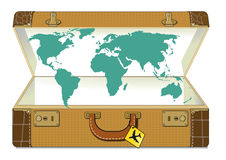 World map in suitcase Royalty Free Stock Photo
