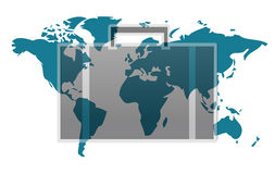 World map with suitcase isolated Royalty Free Stock Photos