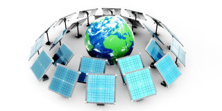 World map and sun power collectors Stock Images