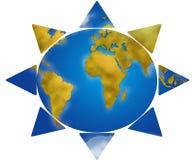 World map in sun shape Royalty Free Stock Photography
