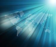 World Map  sunburst background Stock Photos