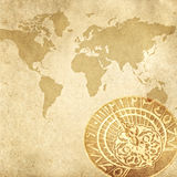 World map and a sundial. An old sundial on the world map Royalty Free Stock Photography
