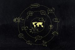 World map surrounded by mixed opinions and comments. Change the word and bring progress concept: world map surrounded by mixed opinions and comments, both Royalty Free Stock Photography