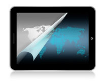 World map in tablet Stock Image