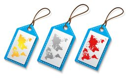 World Map on tag in various color. Ai 10 additional  in white background Stock Photo