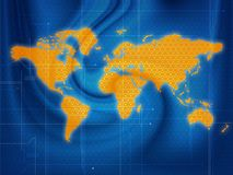 World map techno. Wallpaper illustration of a world map in a techno style stock illustration
