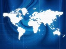 World map techno. Wallpaper illustration of a world map in a techno style Royalty Free Stock Photography